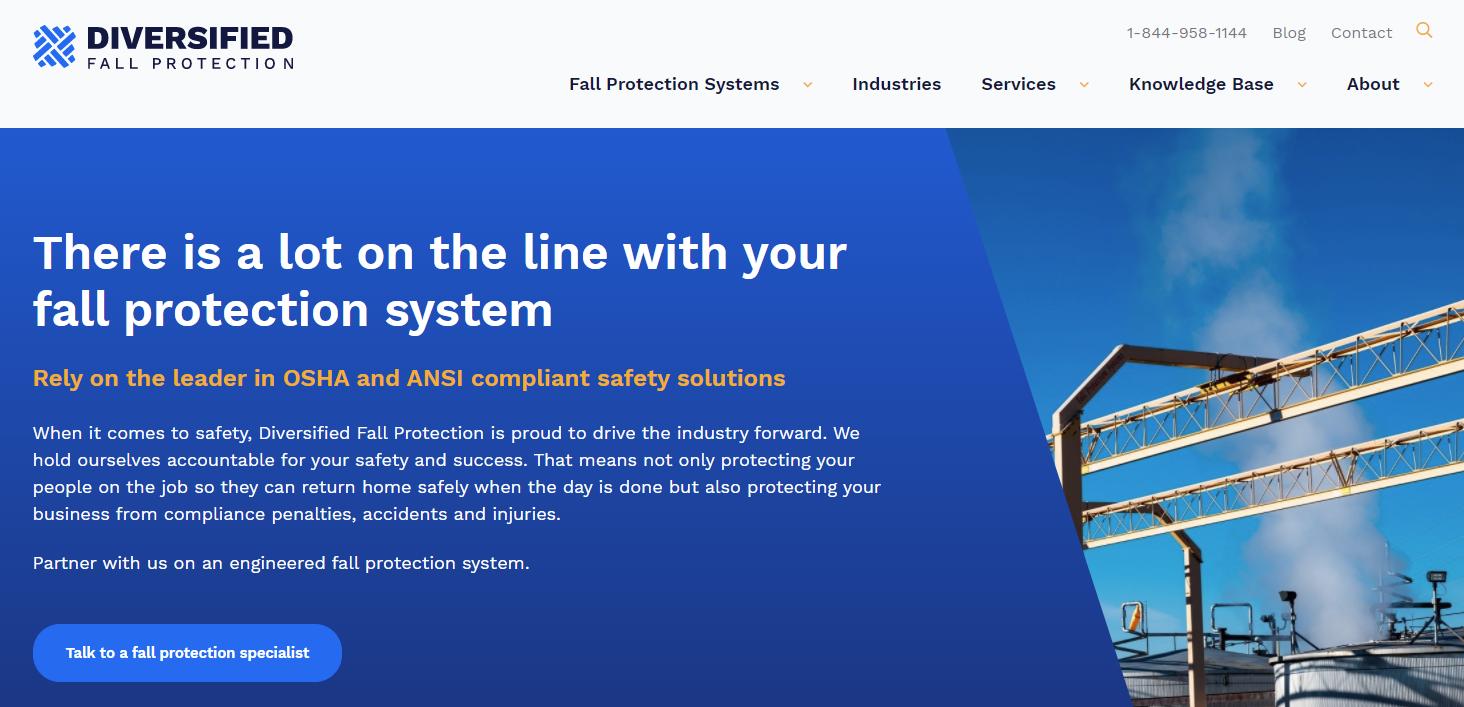 Diversified Fall Protection Website Screenshot