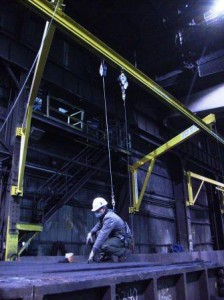 articulating jib overhead fall protection system