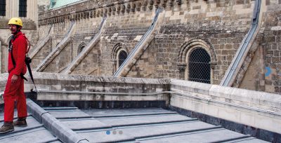 low profile track fall protection systems