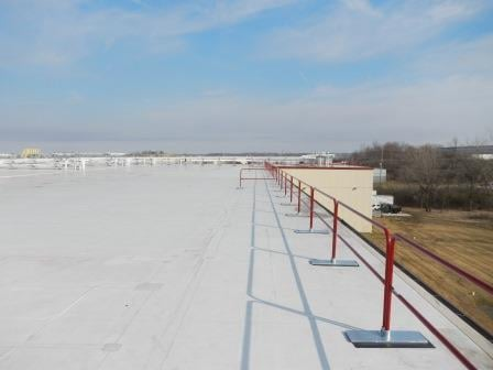 rooftop guardrail with custom powder coated finish