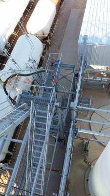 tanker car loading rack overhead view