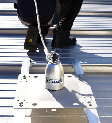tip over anchor installed on a standing seam roof