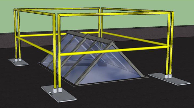 guardrail around a skylight